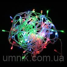 Гирлянда светодиодная LED разноцветная, прозрачный провод, 400 лампочек