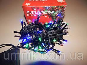 Гирлянда светодиодная LED разноцветная, черный провод, 300 лампочек
