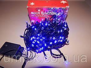 Гирлянда светодиодная LED синяя, черный провод, 200 лампочек