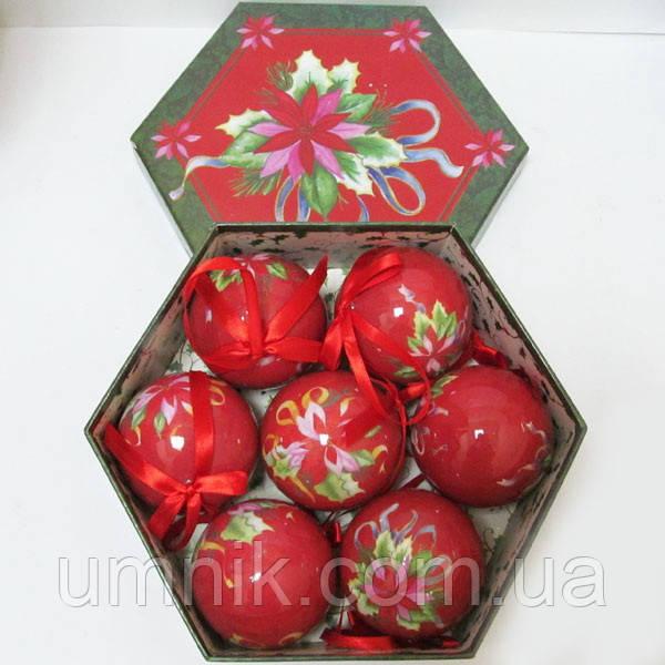 """Шары новогодние в подарочной коробке глянцевые """"Цветок"""" 7 шт. 75 мм."""
