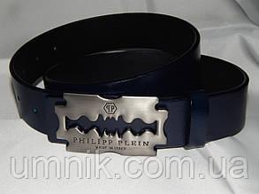 Ремень мужской кожаный PHILIPP PLEIN, синий 40 мм 930479