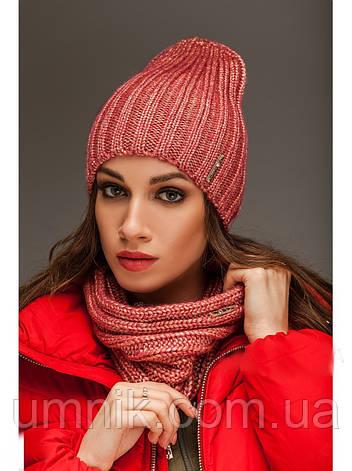 """Комплект шапка и шарф вязаные """"Брест """" коралловый 903821, фото 2"""