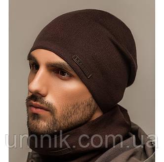 """Комплект шапка и шарф вязаная мужская """"Квин"""" шоколад 906047, фото 2"""