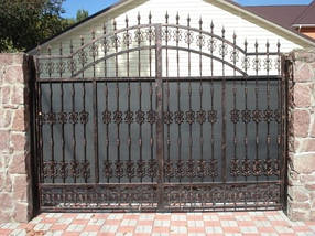 Ворота распашные, комбинированые