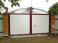 Ворота распашные, комбинированые, фото 2