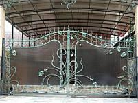Ворота распашные, комбинированые, фото 5