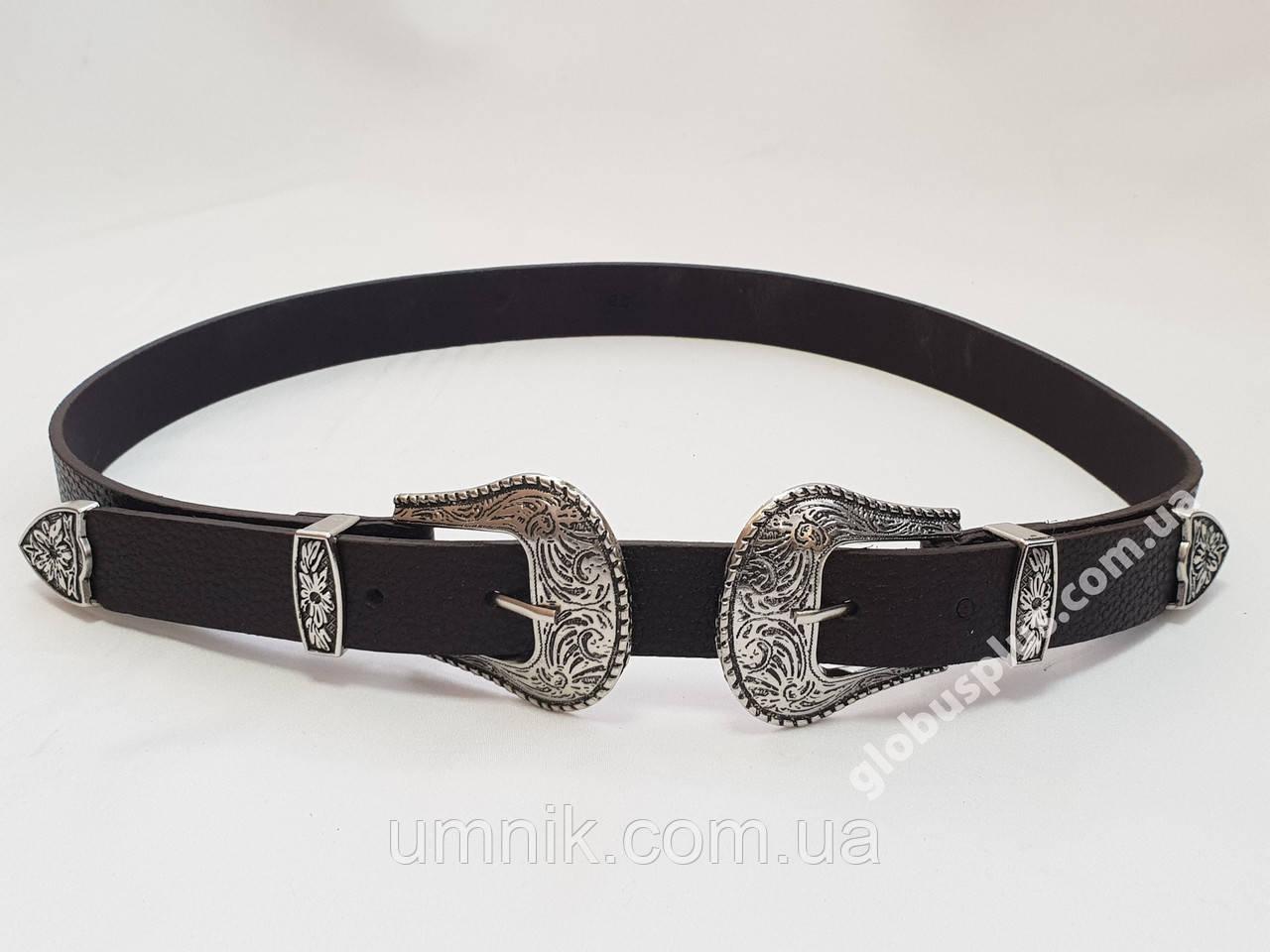 Ремень женский кожаный с двумя пряжками, ширина 25 мм., 930702