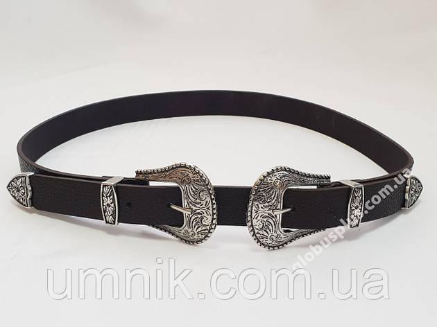 Ремень женский кожаный с двумя пряжками, ширина 25 мм., 930702, фото 2