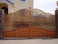 Ворота распашные, комбинированые, фото 6