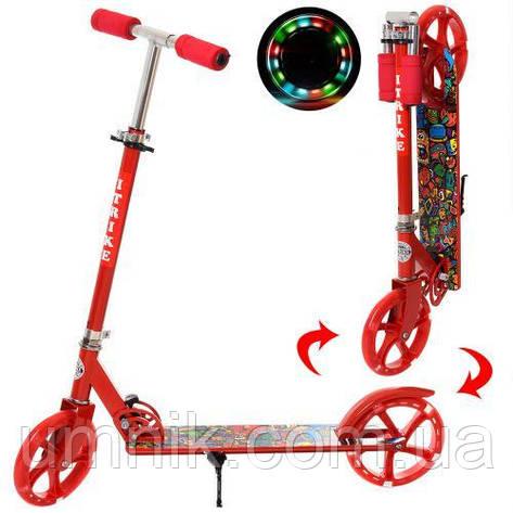 Двоколісний Самокат складаний iTrike SR 2-010-1-R-L, червоний, світяться колеса, фото 2