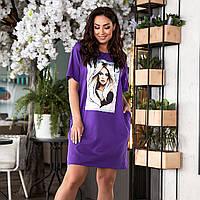 Батальное платье-футболка свободного кроя с принтом, фото 1