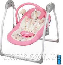 Детский шезлонг-качалка, музыкальный, дуга с подвесками, El Camino ME AIRY, Pink, 70×63×63 см, ME1047