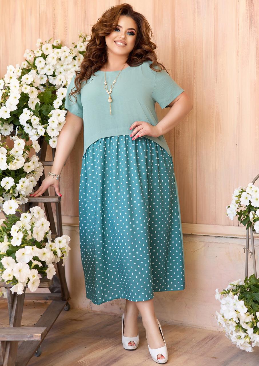 Літнє святкове плаття в горошок для повних жінок