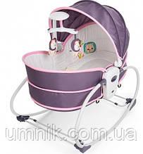 Детский шезлонг-качалка, переноска, музыкальный с подвесками, 5 в 1 Mastela, 76×53×77 см, 6033, серо-розовый