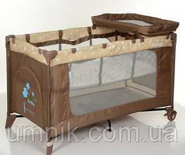 Манеж El Camino, Safe Plus Stars Beige, переносной, с пеленальным столиком, 123х64х77 см,  ME1054