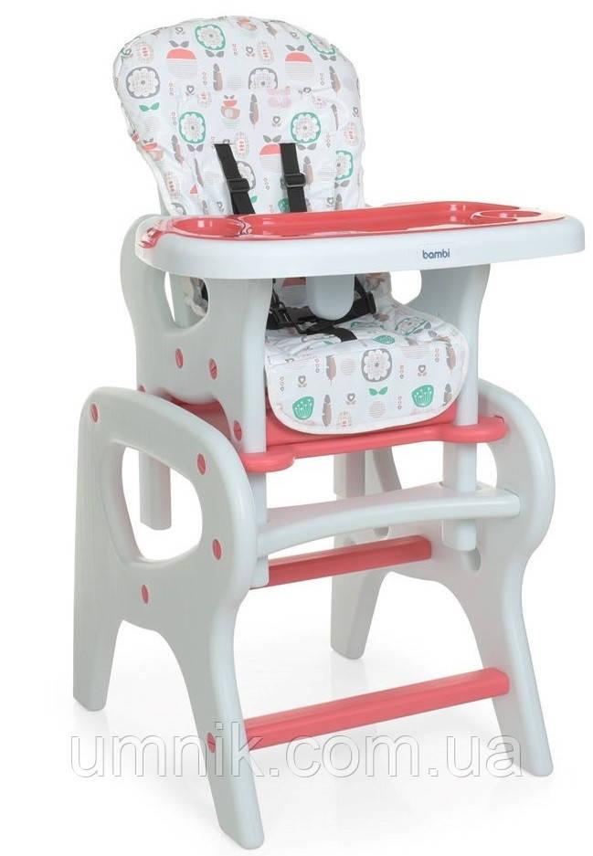 Стільчик для годування Bambi, ремені безпеки, M 0816 Pink Flowers