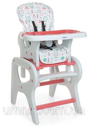 Стільчик для годування Bambi, ремені безпеки, M 0816 Pink Flowers, фото 2