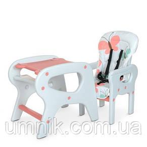 Стільчик для годування Bambi, ремені безпеки, M 0816 Pink Flowers, фото 3