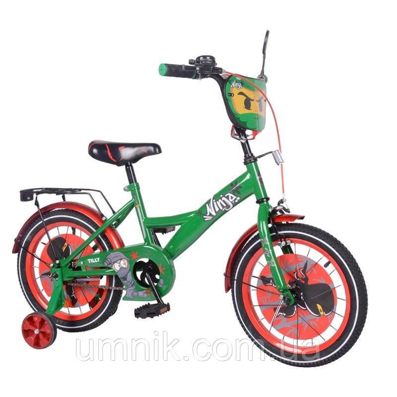 Велосипед детский двухколесный Tilly T-216216/1 Ninja, 16 дюймов, красно-зеленый
