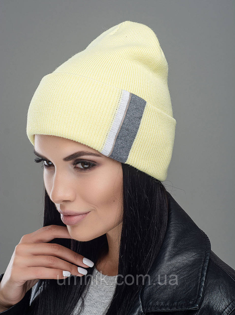 """Шапка вязана жіноча """"Брунелла"""" жовтий 907066-4"""