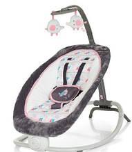 Детский шезлонг-качалка, музыкальная, с подвесками, Bambi, Grey Pink, 73х51х64 см, 6917