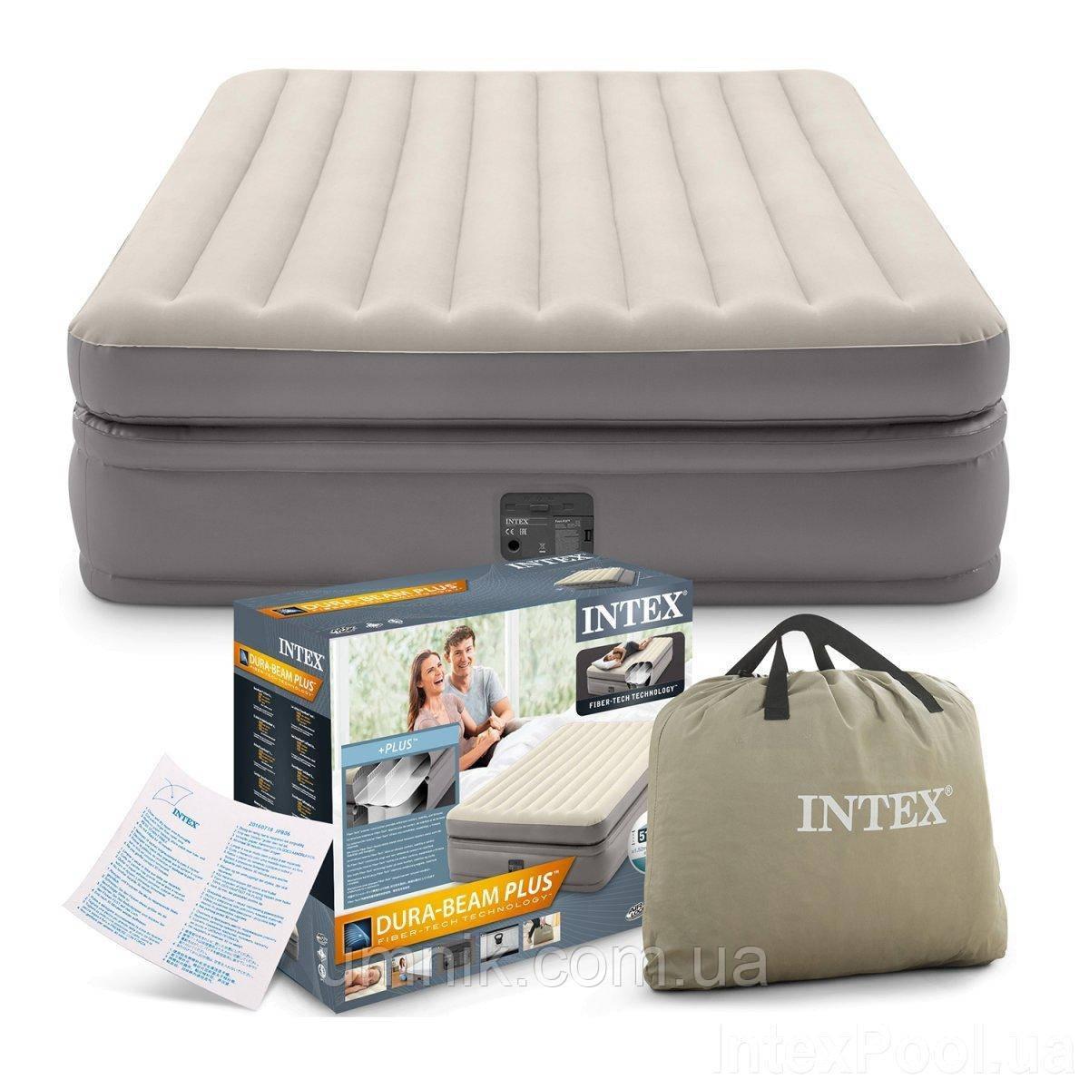 Кровать надувная Intex с встроенным электрическим насосом, 64164, 203*152*51см