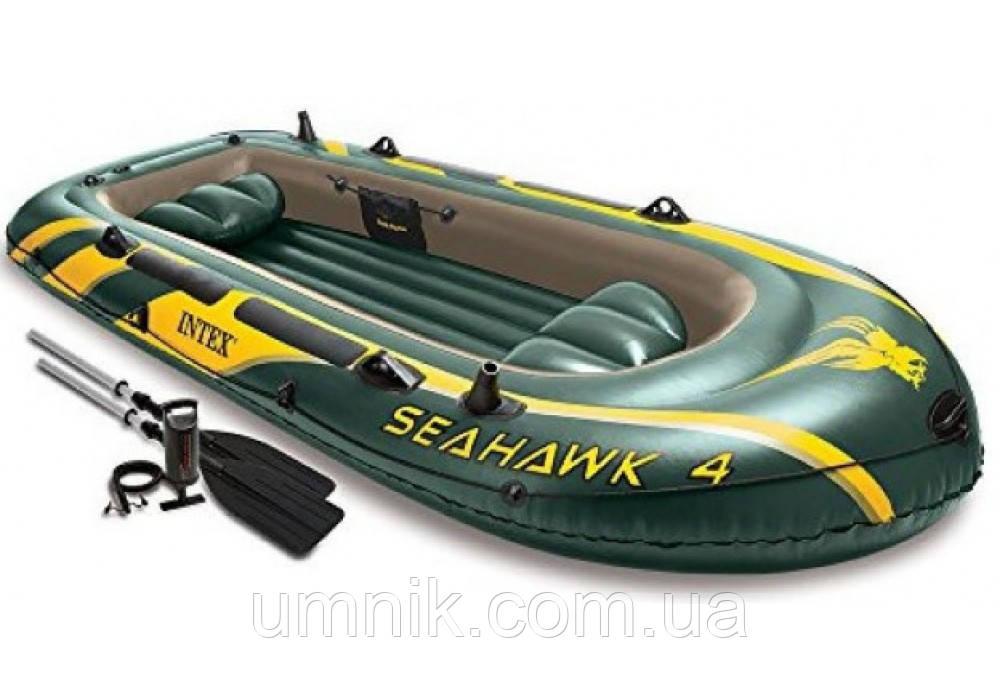 """Надувная четырехместная лодка Intex """"Seahawk"""", 68351, с насосом и вёслами, 351х145х48см"""