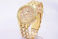Часы наручные Женева с золотистым ремешком код 146