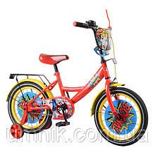 Велосипед детский двухколесный для девочек Tilly T-216219 Wonder, 16 дюймов, красно-желтый