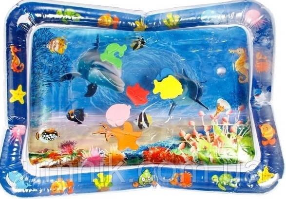 Розвиваючий ігровий килимок для немовляти з водою Lindo Океан, 46х65 см, F 2010