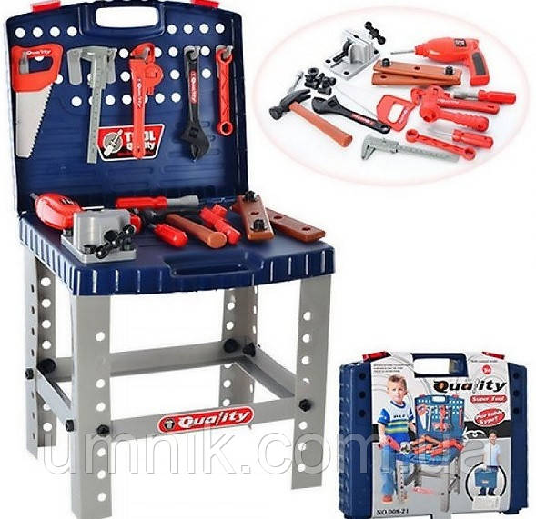 Игровой набор инструментов со столиком - в чемодане, мастерская, 40*34*73 см, 008-21