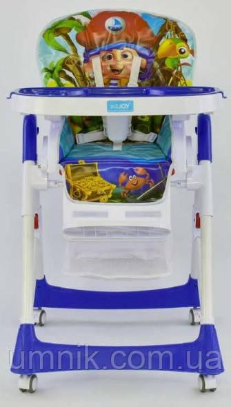 "Стульчик для кормления JOY ""Пират"", от 6 до 36 месяцев, ремни безопасности, J 1750, синий"
