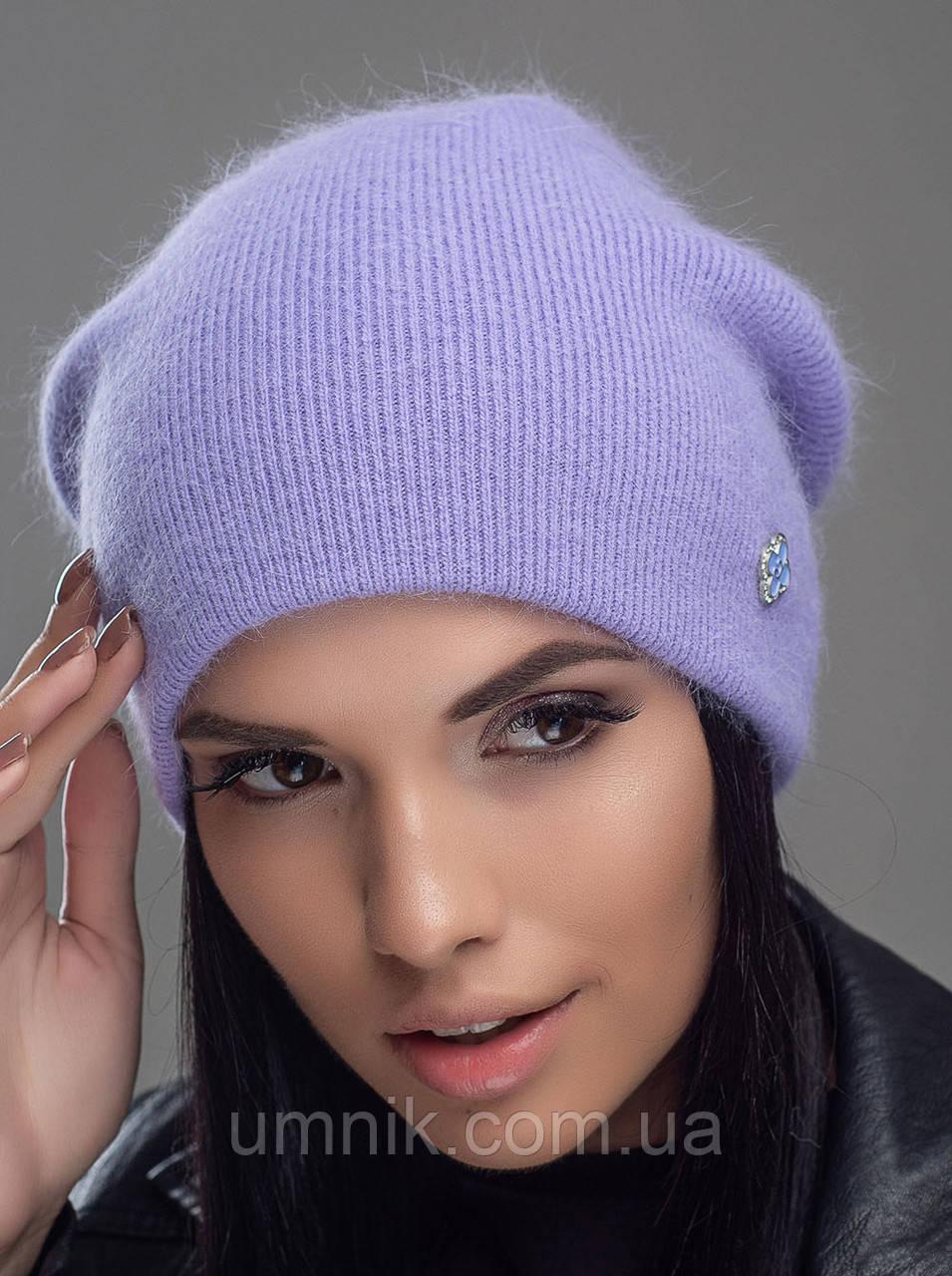 """Шапка вязаная женская """"Нарцисс"""" светло-фиолетовый 906464-15"""