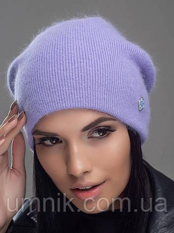 """Шапка вязаная женская """"Нарцисс"""" светло-фиолетовый 906464-15, фото 2"""
