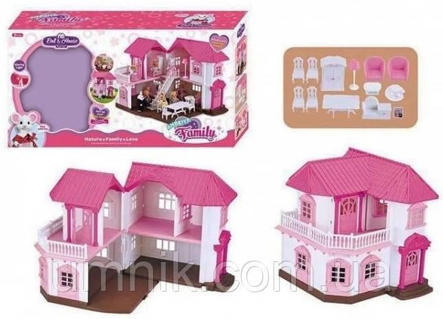 """Будиночок з меблями Anbeiya Family, флоксовые тварини"""", 2 поверхи, 34*34*16.5 см, 1805"""
