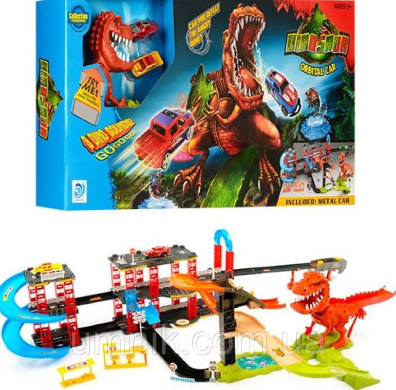 """Ігровий трек для машинок """"Динозавр Рекс у місті"""", звукові ефекти, 125*75*25 см, 8899-92"""