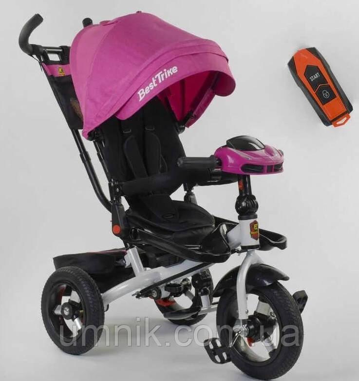 Детский трёхколёсный велосипед с пультом Best Trike 6088F-06-755 с родительской ручкой, розовый