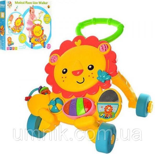Дитяча каталка-ходунки Лев, інтерактивні, музичні, з ігровою панеллю 50*50*45 см, S918