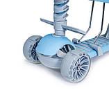 Дитячий триколісний самокат беговел з обмежувачем і батьківською ручкою Scooter 5 в 1 Синій з бортиком, фото 3