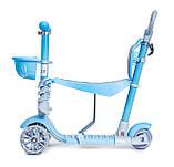 Дитячий триколісний самокат беговел з обмежувачем і батьківською ручкою Scooter 5 в 1 Синій з бортиком, фото 4