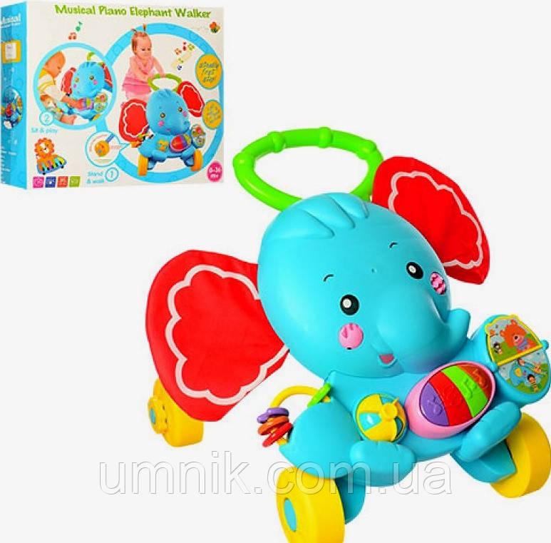 Дитяча каталка-ходунки Слоник, інтерактивні, музичні, з ігровою панеллю 50*50*45 см, S919