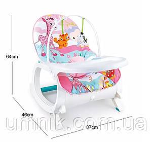 Дитячий шезлонг-качалка 3в1 Зебра, музичний, дуга з підвісками, знімний столик, 87× 46 × 64 см, 7188, фото 2