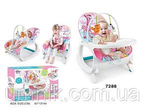 Дитячий шезлонг-качалка 3в1 Зебра, музичний, дуга з підвісками, знімний столик, 87× 46 × 64 см, 7188, фото 3
