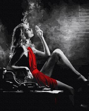 Картины по номерам 40х50 см Brushme  Женщина в красном (GX 36128)