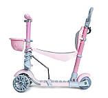 Дитячий триколісний самокат беговел з обмежувачем і батьківською ручкою Scooter 5 в 1 Рожевий з бортиком, фото 5