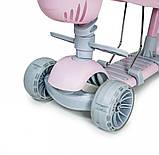 Дитячий триколісний самокат беговел з обмежувачем і батьківською ручкою Scooter 5 в 1 Рожевий з бортиком, фото 4