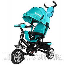 Велосипед трехколесный с родительской ручкой детский Tilly Storm T-349/2, колеса EVA, бирюзовый