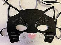 Карнавальная маска черный Котик, фото 1