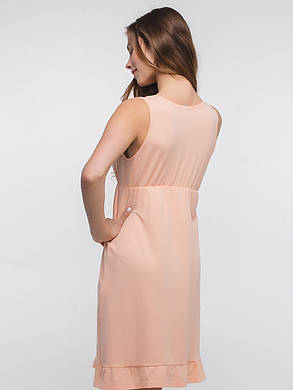Ночная рубашка для кормящих и беременных цвет персик размер 42,44,46,48,50 ткань 100% хлопок, фото 2