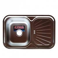 Врезная кухонная мойка с нержавеющей стали PLATINUM 7549 Сатин 0.8 мм.